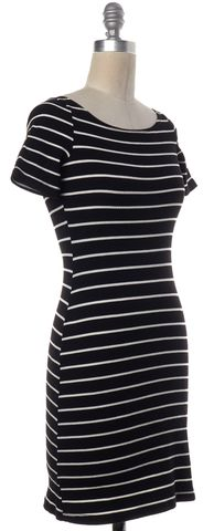 REFORMATION Black White Striped Short Sleeve Bodycon Dress