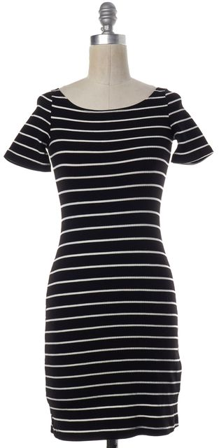 REFORMATION Black White Striped Short Sleeve Bodycon Dress