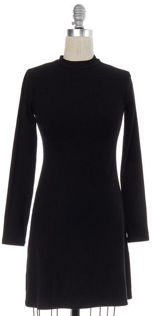 REFORMATION Black Rib Knit Long Sleeve Sheath Dress