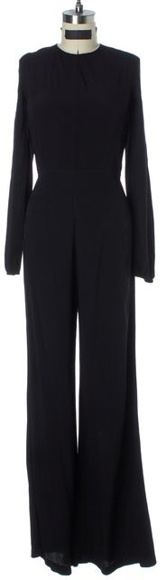 REFORMATION Black Long Sleeve Open Back Wide Leg Jumpsuit