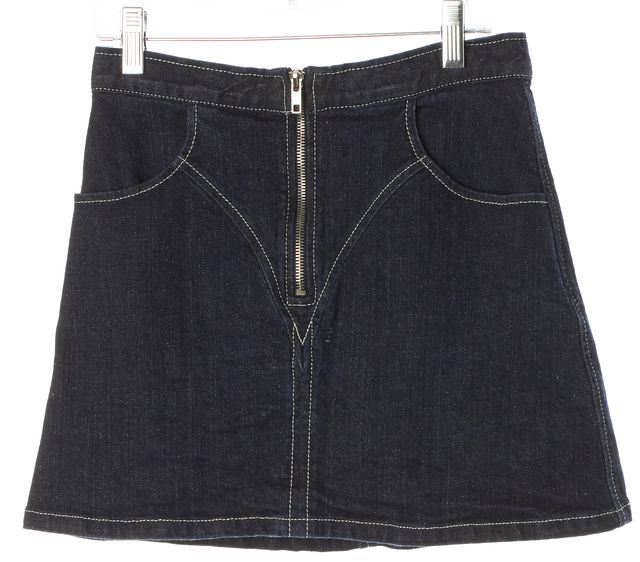 REFORMATION Blue Zip Front Dark Wash Above Knee Denim A-Line Skirt