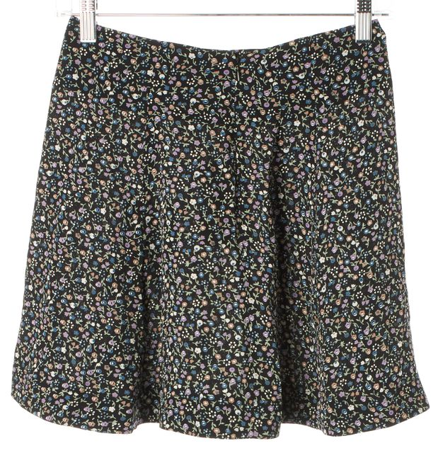 REFORMATION Black Purple Floral Petunia Gale A-Line Skirt