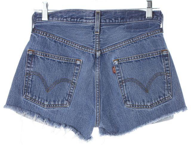 REFORMATION Blue High Waisted Distressed Hem Denim Shorts