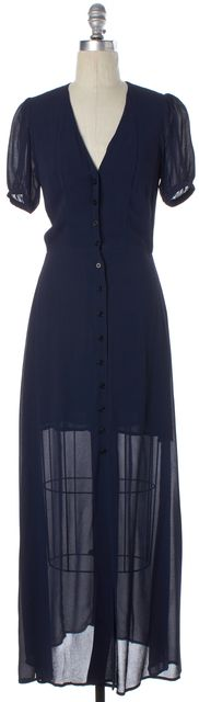 REFORMATION Navy Blue Semi Sheer Short Sleeve Button Down Maxi Dress