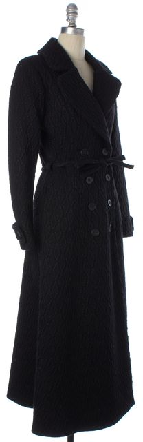 REFORMATION Black Diamond Woven Belted Double Breasted Long Winter Coat