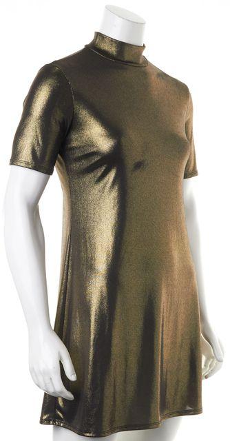 REFORMATION Gold Shimmer Turtleneck Short Sleeve Shift Dress