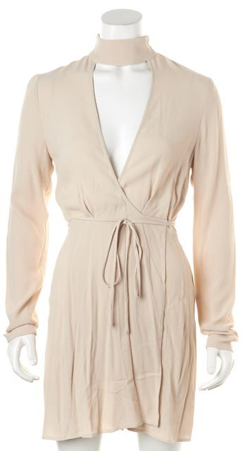 REFORMATION Ivory Champagne Cutout Front Campbell Wrap Dress