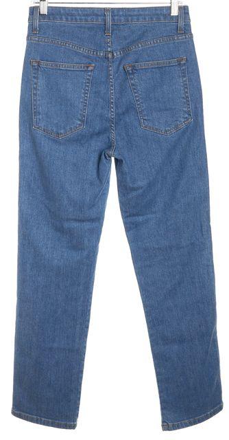 REFORMATION Indian Blue Cotton Denim High-Rise Straight Leg Jeans