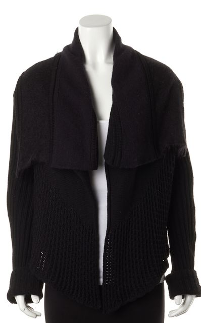 RICK OWENS Black Wool Mohair Knit Cardigan Sweater