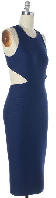 RONNY KOBO Blue Ribbed Side Cutout Open Back Midi Bodycon Dress