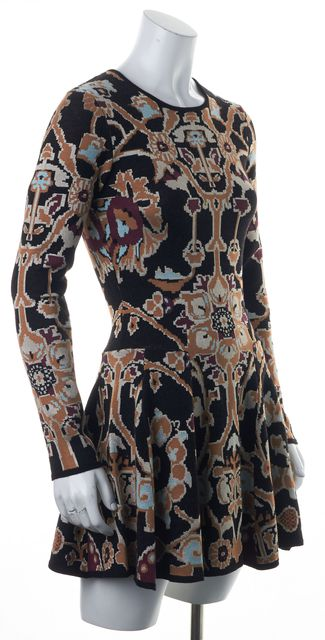 RONNY KOBO Black Beige Blue Geometric Above Knee Fit & Flare Dress