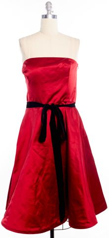 RALPH LAUREN BLACK LABEL Red Black Silk Strapless Fit Flare Dress