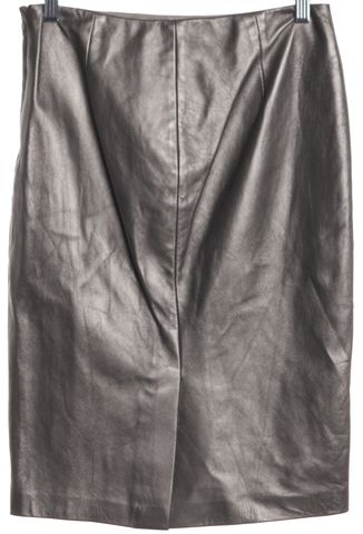 RALPH LAUREN BLACK LABEL Silver Leather Straight Pencil Skirt Size 4