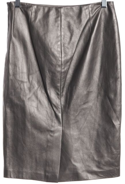 RALPH LAUREN BLACK LABEL Silver Leather Straight Pencil Skirt