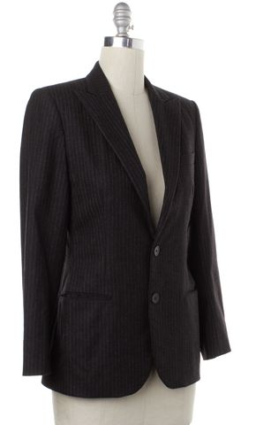 RALPH LAUREN BLACK LABEL Gray Pinstriped Two Button Wool Blazer