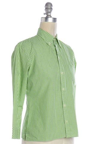 RALPH LAUREN BLACK LABEL Green Plaid Button Down Shirt Top Size 2