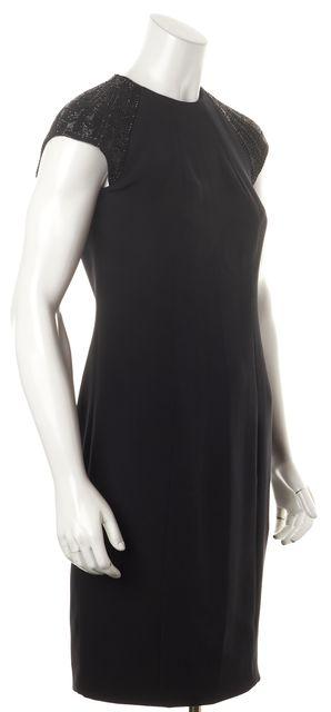RALPH LAUREN BLACK LABEL Black Beaded Embellished Silk Formal Sheath Dress
