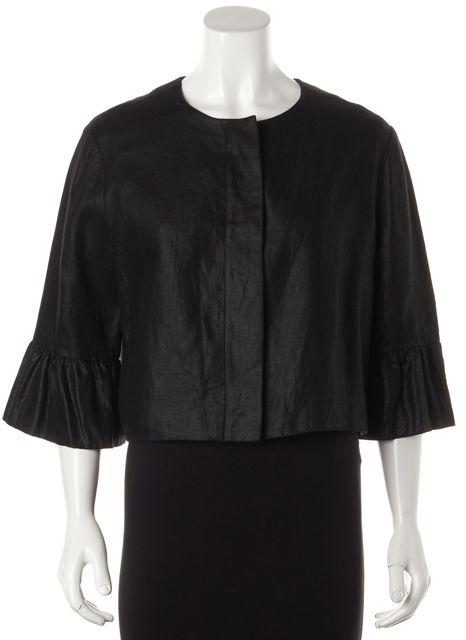 RALPH LAUREN BLACK LABEL Black Linen Cropped Bell Sleeve Basic Jacket