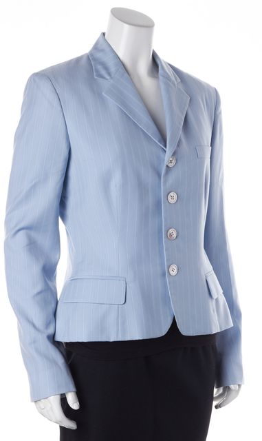 RALPH LAUREN BLACK LABEL Sky Blue White Pinstriped Wool Blazer