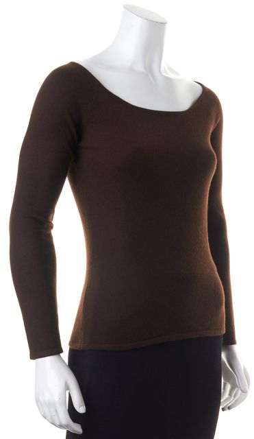 RALPH LAUREN BLACK LABEL Brown Cashmere Knit Boat Neck Sweater