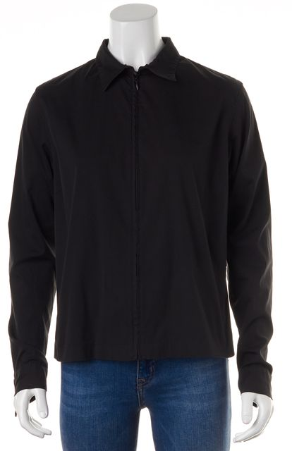 RALPH LAUREN BLACK LABEL Black Long Sleeve Zip Down Shirt Top