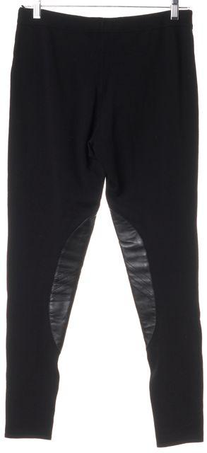 RALPH LAUREN BLACK LABEL Black Wool Leather Trim Leggings