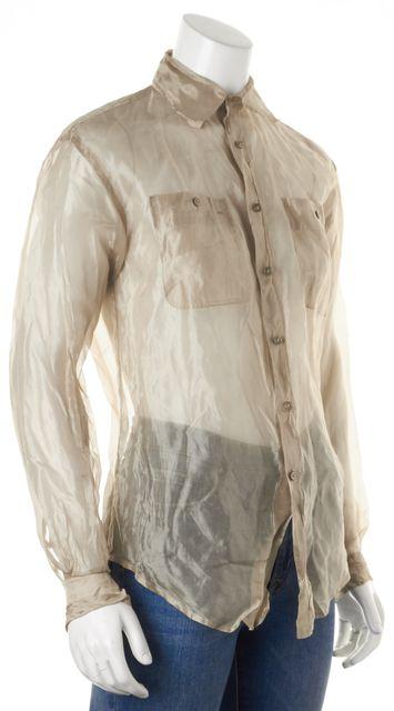 RALPH LAUREN BLACK LABEL Gold Metallic Silk Sheer Button Down Shirt