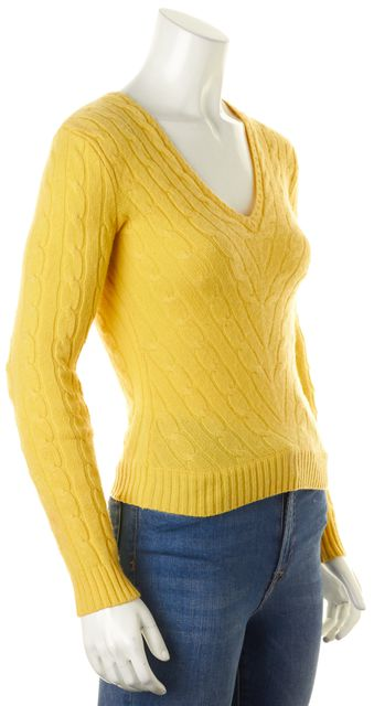 RALPH LAUREN BLACK LABEL Yellow Cashmere Slim Fit V-Neck Sweater