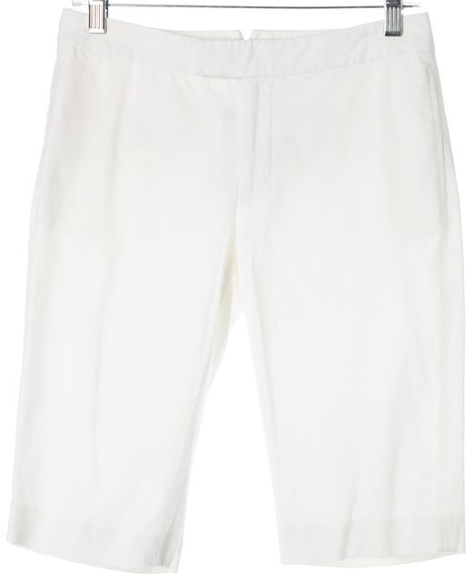 RALPH LAUREN BLACK LABEL White Cotton Bermuda Walking Shorts
