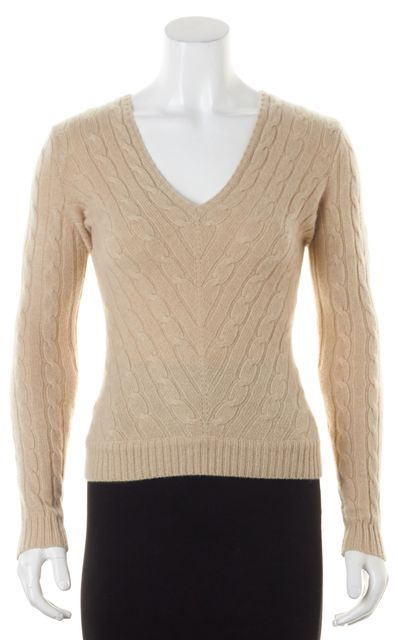 RALPH LAUREN BLACK LABEL Beige Cashmere Slim Fit V-Neck Sweater