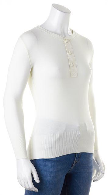 RALPH LAUREN BLACK LABEL Ivory Cotton Knit Jersey 3/4 Sleeve Henley Top