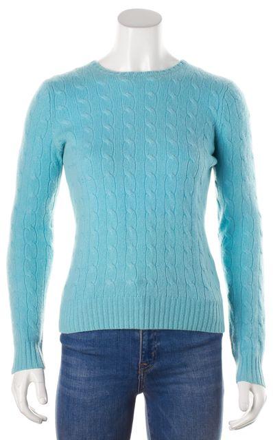 RALPH LAUREN BLACK LABEL Blue Cashmere Crewneck Sweater