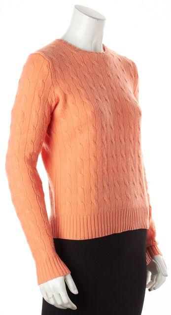 RALPH LAUREN BLACK LABEL Orange Cashmere Crewneck Sweater