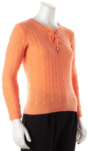 RALPH LAUREN BLACK LABEL Orange Cashmere Lace-Up Crewneck Sweater