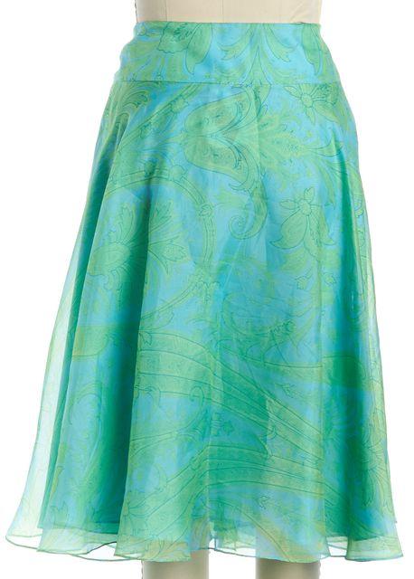 RALPH LAUREN BLACK LABEL Aqua Blue Green Abstract Silk A-Line Skirt