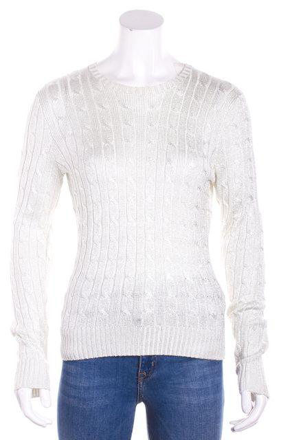 RALPH LAUREN BLACK LABEL Gray Metallic Crewneck Sweater