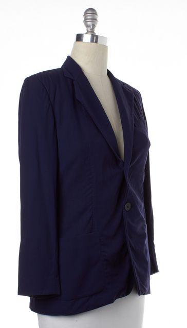 RALPH LAUREN COLLECTION Navy Blue Wool Two Button Blazer