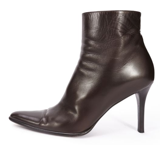 RALPH LAUREN COLLECTION Brown Leather Pointed Toe Ankle Boots