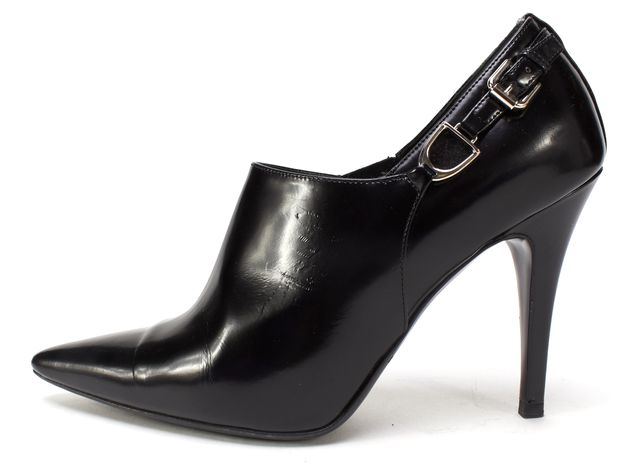 RALPH LAUREN COLLECTION Black Leather Buckle Pointed Toe Ankle Booties