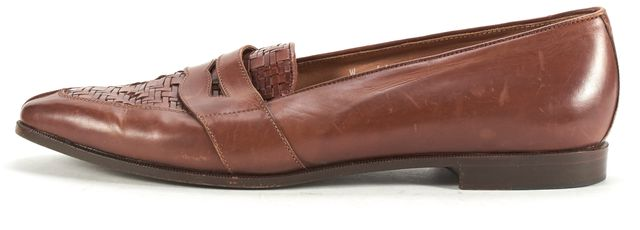 RALPH LAUREN COLLECTION Brown Woven Leather Penny Loafers