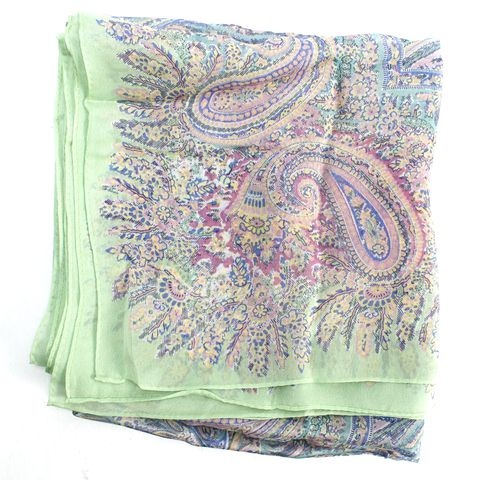RALPH LAUREN COLLECTION Green Multi Color Paisley Silk Scarf