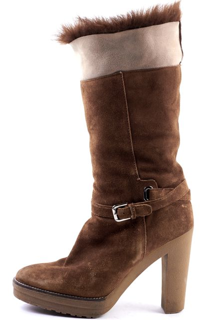 RALPH LAUREN COLLECTION Brown Suede Leather Fur Trimmed Platform Boots