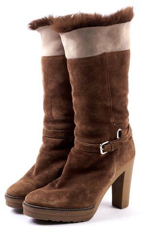 RALPH LAUREN COLLECTION Brown Suede Leather Fur Trimmed Platform Boots