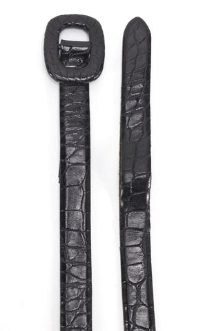 RALPH LAUREN COLLECTION Black Alligator Skim Belt