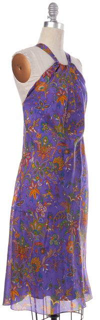 RALPH LAUREN COLLECTION Purple Paisley Floral Print Silk Sheath Dress