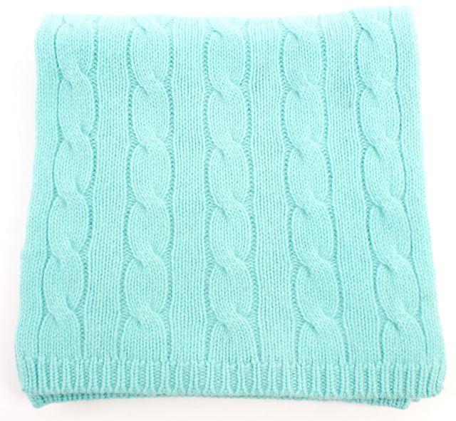 RALPH LAUREN COLLECTION Light Blue Cashmere Cable Knit Scarf