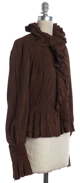 RALPH LAUREN COLLECTION Brown Suede Ruffle Hook Eye Closure Jacket Fits Like a S