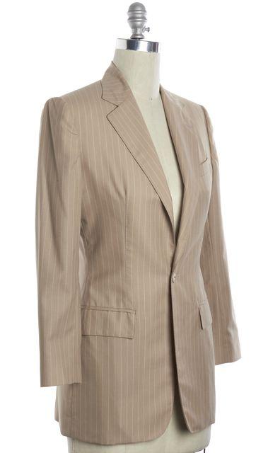 RALPH LAUREN COLLECTION Beige White Pinstriped Wool One Button Blazer