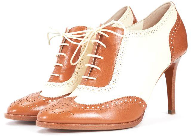 RALPH LAUREN COLLECTION Brown Cream Leather Oxford Heels