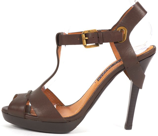 RALPH LAUREN COLLECTION Brown Leather Ankle Strap Sandal Heels